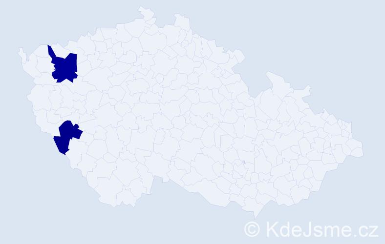 Příjmení: 'Kazmirčík', počet výskytů 5 v celé ČR