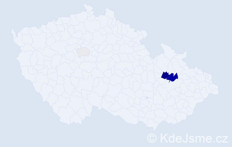 Příjmení: 'Komsa', počet výskytů 5 v celé ČR