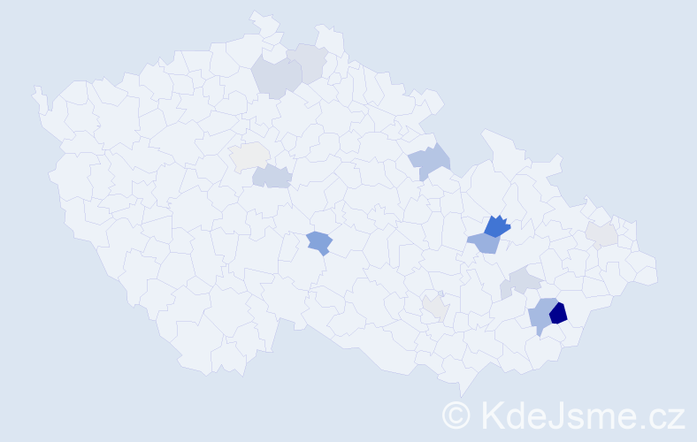 Příjmení: 'Jaroščák', počet výskytů 20 v celé ČR