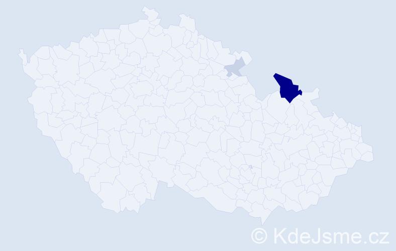 Příjmení: 'Dzubáková', počet výskytů 9 v celé ČR