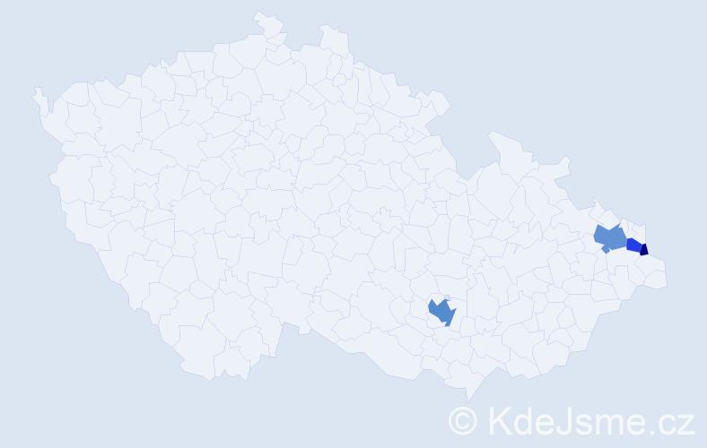 Příjmení: 'Hadynová', počet výskytů 10 v celé ČR