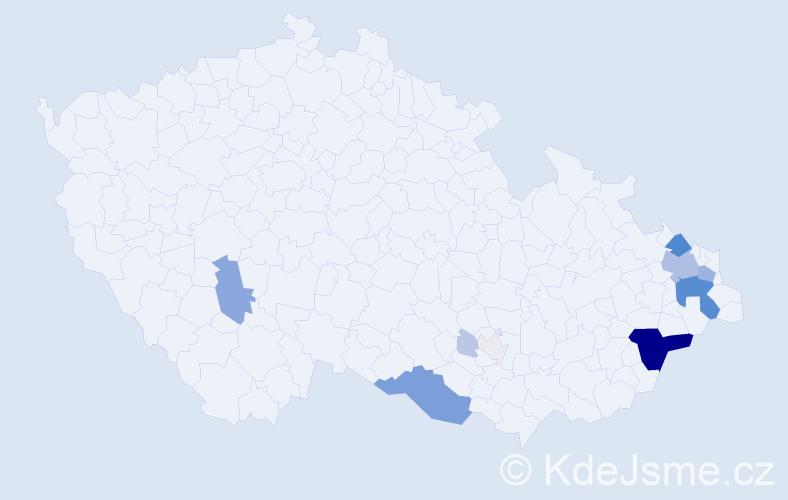 Příjmení: 'Kliš', počet výskytů 74 v celé ČR