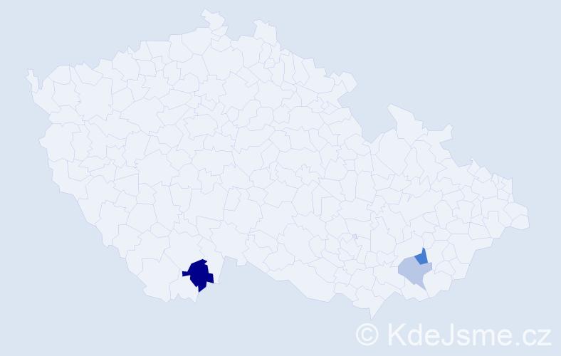 Příjmení: 'Gangl', počet výskytů 5 v celé ČR