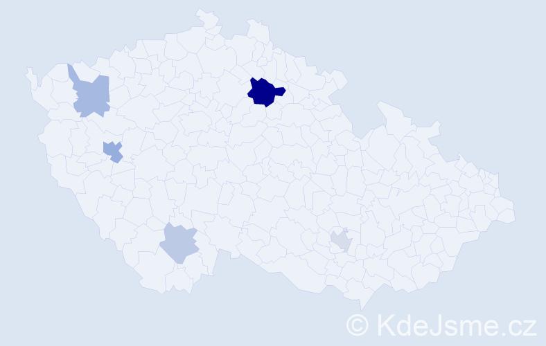 Příjmení: 'Lamiová', počet výskytů 9 v celé ČR
