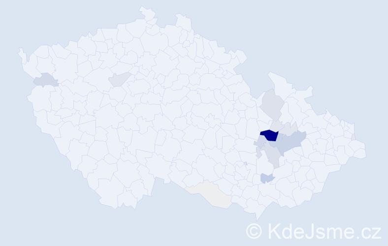 Příjmení: 'Čunderlová', počet výskytů 65 v celé ČR