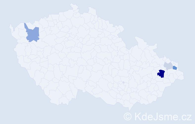 Příjmení: 'Celuch', počet výskytů 7 v celé ČR