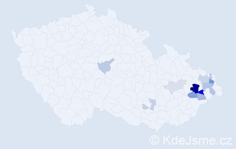 Příjmení: 'Klimparová', počet výskytů 29 v celé ČR