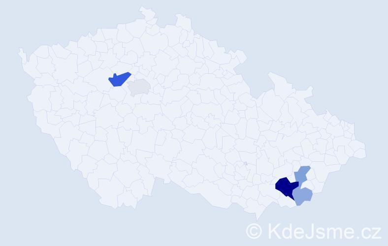 Příjmení: 'Kieryková', počet výskytů 17 v celé ČR