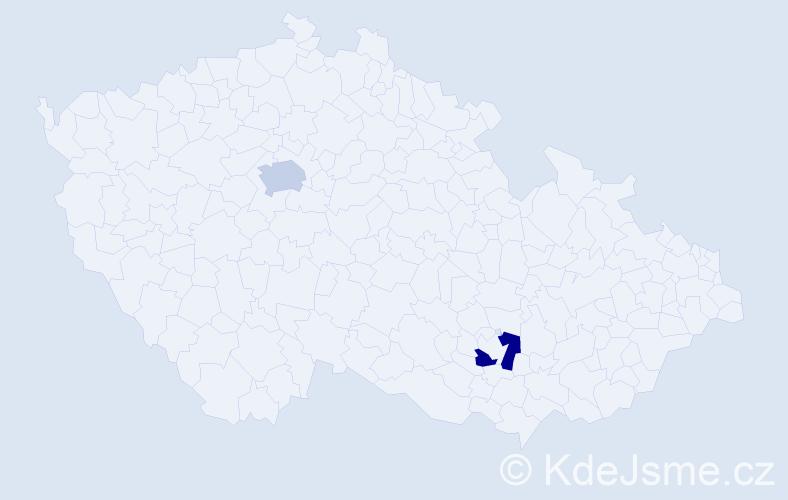 Příjmení: 'Ládi', počet výskytů 2 v celé ČR