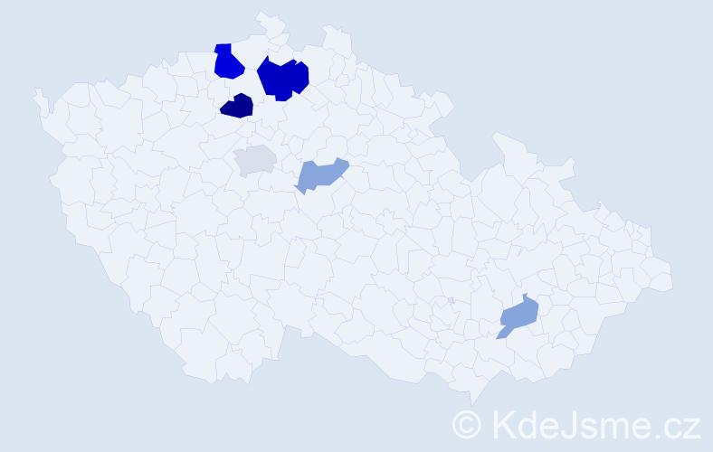 Příjmení: 'Česnohlídková', počet výskytů 15 v celé ČR