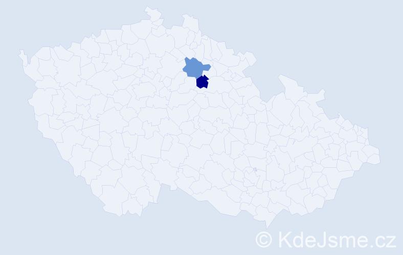 Příjmení: 'Gugyella', počet výskytů 2 v celé ČR