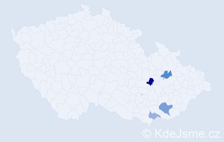 Příjmení: 'Dobrůšek', počet výskytů 5 v celé ČR
