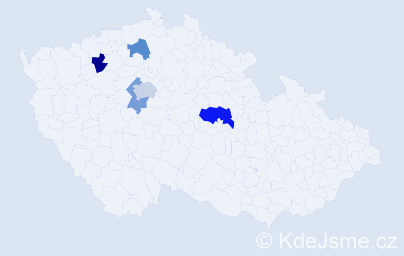 Příjmení: 'Dien', počet výskytů 7 v celé ČR