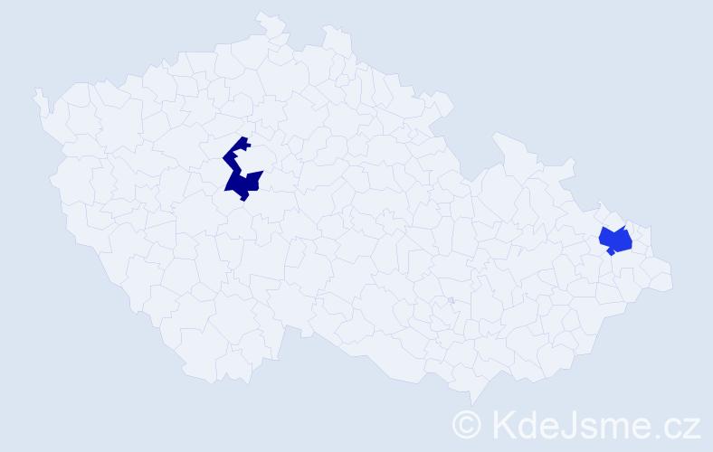 Příjmení: 'Edlund', počet výskytů 5 v celé ČR