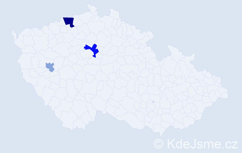 Příjmení: 'Čmilová', počet výskytů 6 v celé ČR