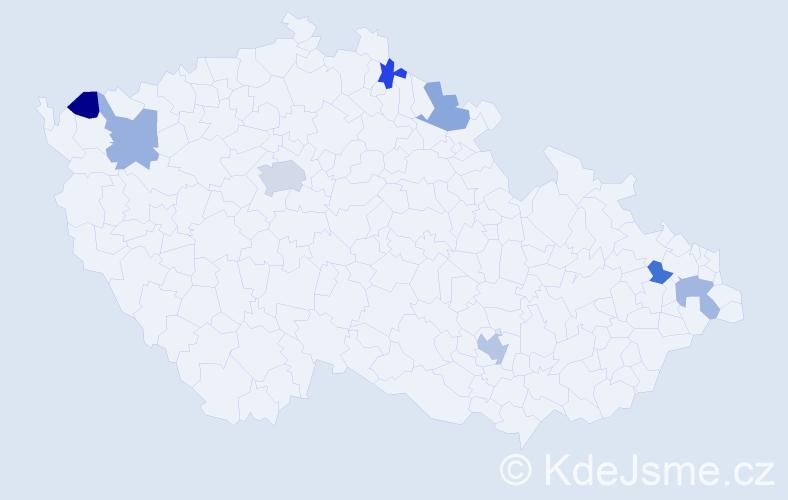 Příjmení: 'Floreková', počet výskytů 11 v celé ČR