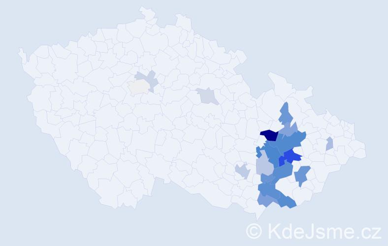 Příjmení: 'Hrabčíková', počet výskytů 60 v celé ČR