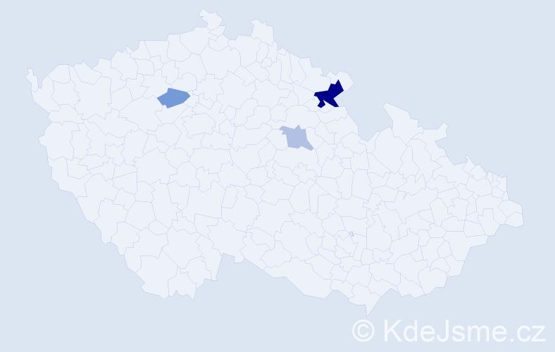Příjmení: 'Keizlarová', počet výskytů 7 v celé ČR