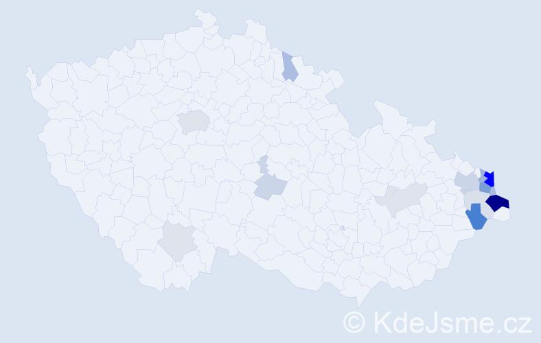 Příjmení: 'Kroczek', počet výskytů 55 v celé ČR