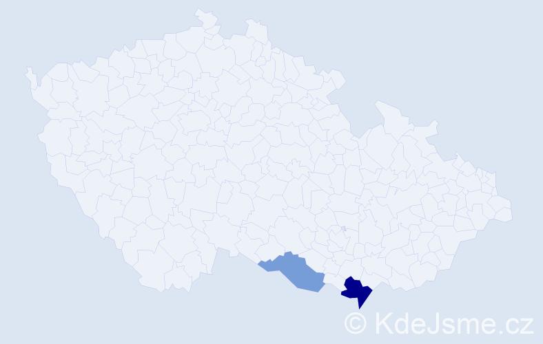 Příjmení: 'Davčík', počet výskytů 7 v celé ČR