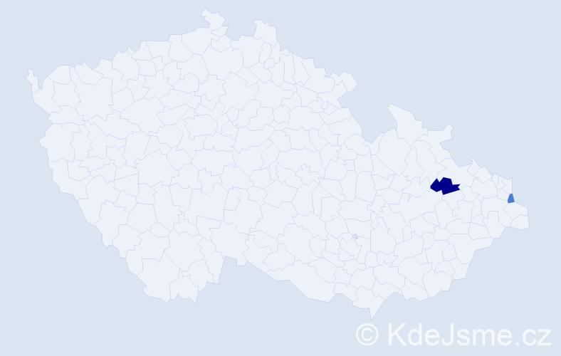 Příjmení: 'Kabiešová', počet výskytů 2 v celé ČR