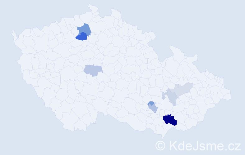 Příjmení: 'Brídl', počet výskytů 24 v celé ČR