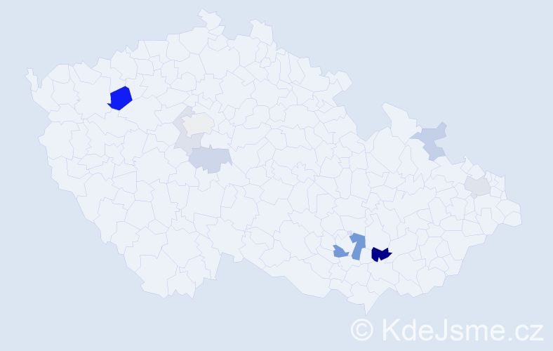 Příjmení: 'Kartus', počet výskytů 18 v celé ČR