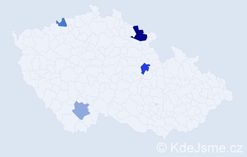Příjmení: 'Dastich', počet výskytů 6 v celé ČR