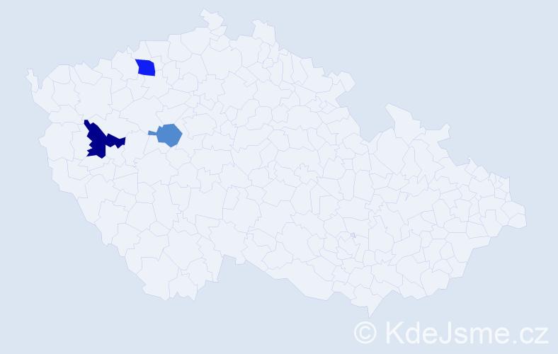 Příjmení: 'Hrban', počet výskytů 5 v celé ČR