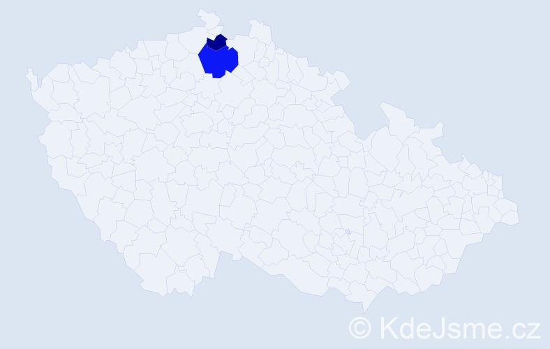Příjmení: 'Huzilová', počet výskytů 3 v celé ČR