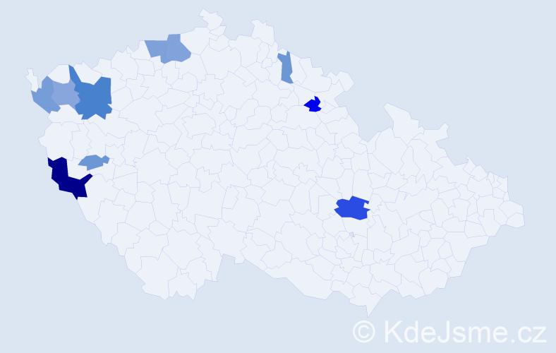 Příjmení: 'Čániová', počet výskytů 28 v celé ČR