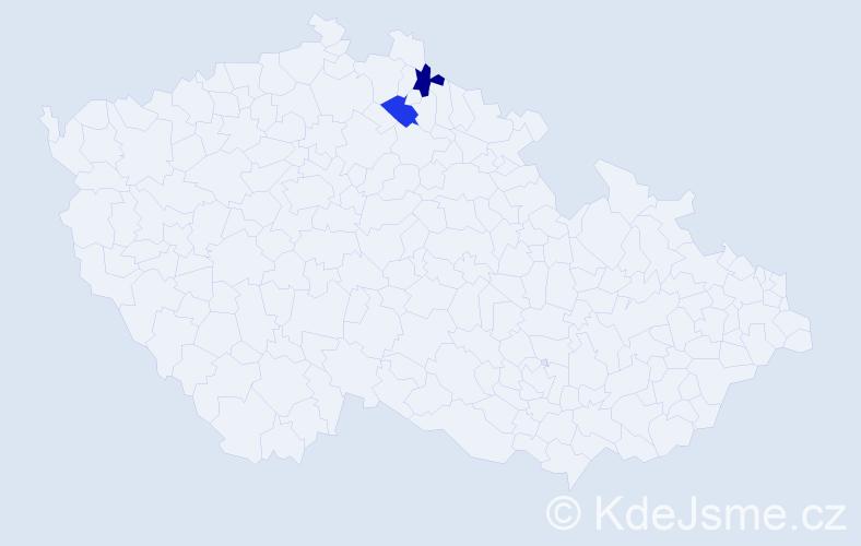 Příjmení: 'Hodbod', počet výskytů 2 v celé ČR