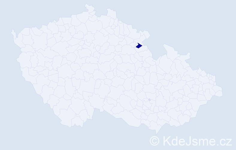 """Příjmení: '""""Košnar Valterová""""', počet výskytů 1 v celé ČR"""