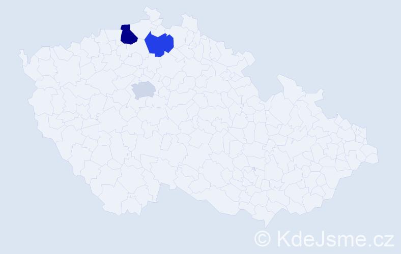 Příjmení: 'Hajžin', počet výskytů 4 v celé ČR