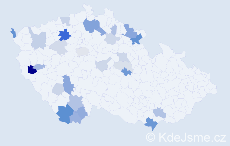 Příjmení: 'Červíček', počet výskytů 73 v celé ČR