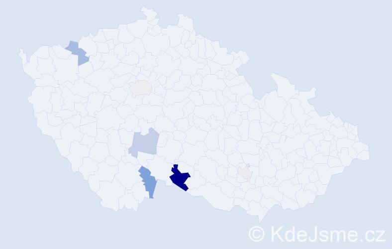 Příjmení: 'Elsterová', počet výskytů 15 v celé ČR