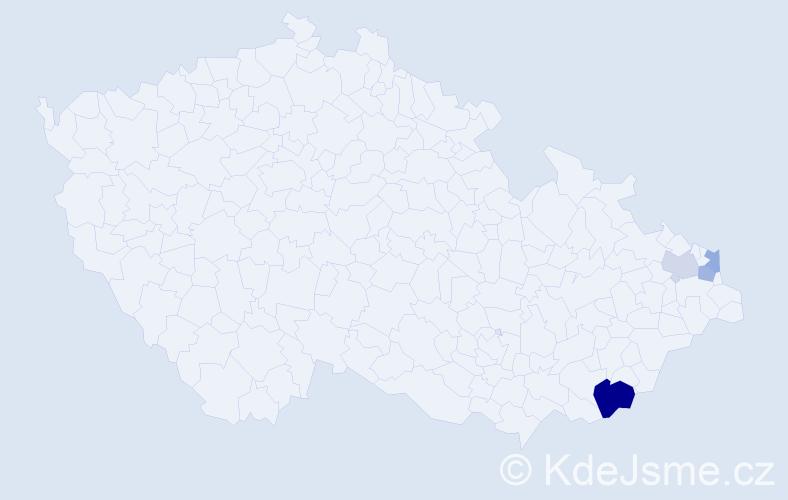 Příjmení: 'Halamčák', počet výskytů 7 v celé ČR