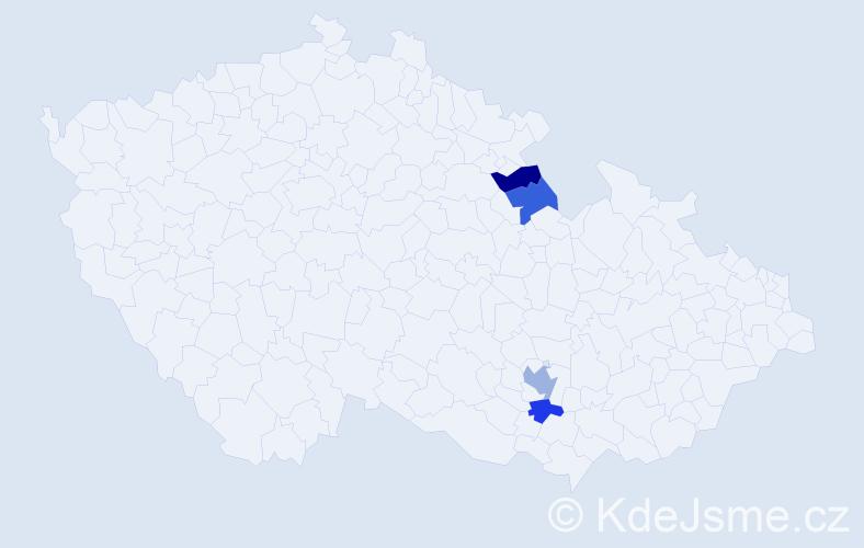 Příjmení: 'Hulc', počet výskytů 5 v celé ČR