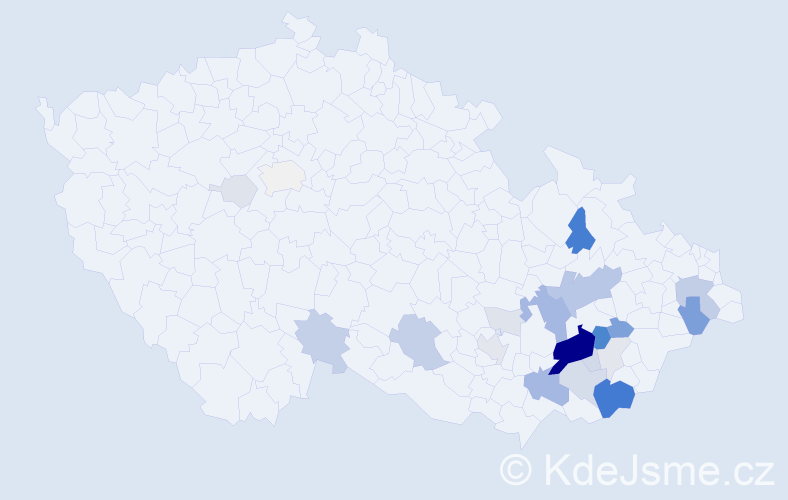 Příjmení: 'Jurtík', počet výskytů 93 v celé ČR