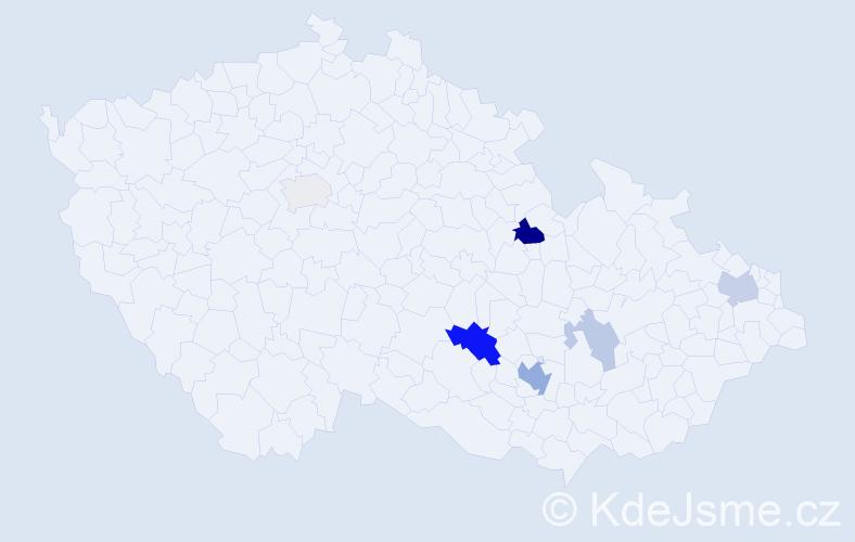 Příjmení: 'Hikešová', počet výskytů 15 v celé ČR