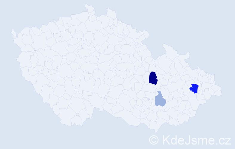 Příjmení: 'Kiral', počet výskytů 8 v celé ČR