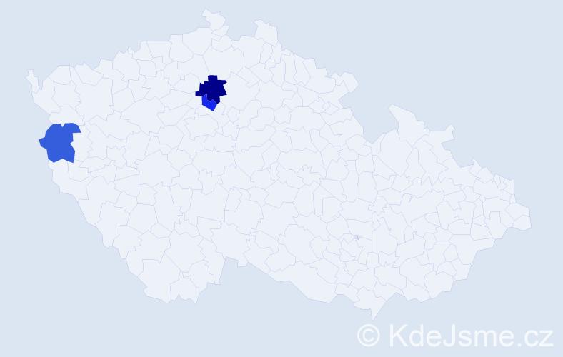 Příjmení: 'Dědiček', počet výskytů 4 v celé ČR