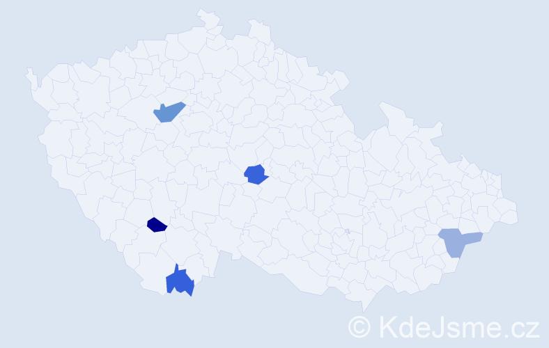 Příjmení: 'Jozefíková', počet výskytů 7 v celé ČR