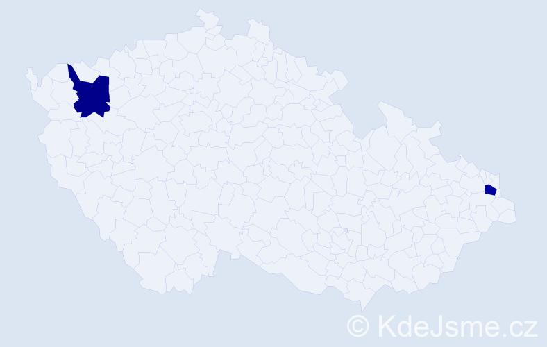 Příjmení: 'Jachym', počet výskytů 2 v celé ČR
