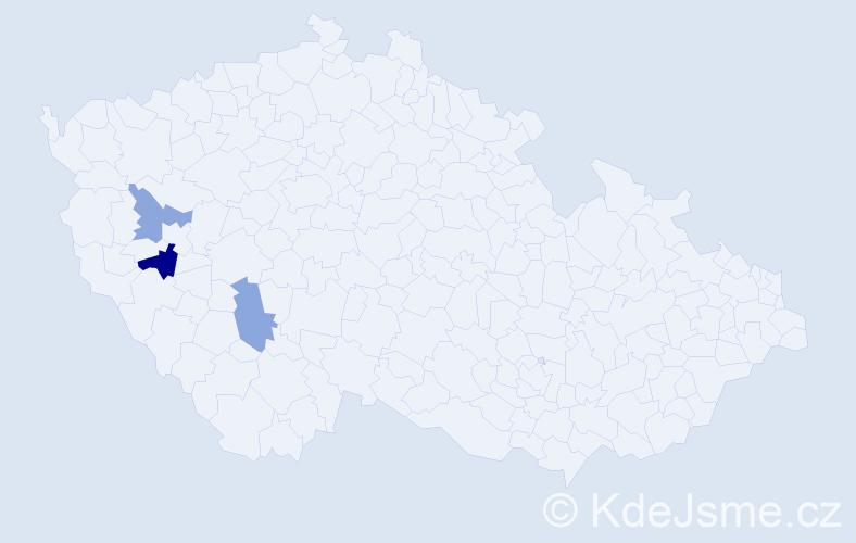 Příjmení: 'Čánecký', počet výskytů 4 v celé ČR