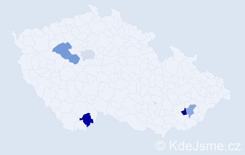 Příjmení: 'Aguilarová', počet výskytů 8 v celé ČR
