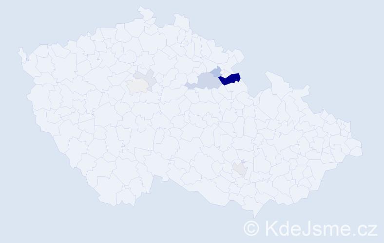 Příjmení: 'Čančarová', počet výskytů 17 v celé ČR