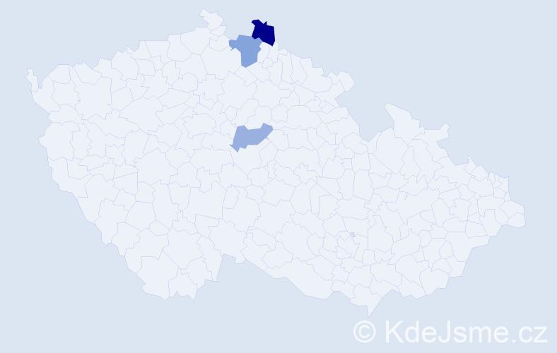 Příjmení: 'Čulagová', počet výskytů 5 v celé ČR