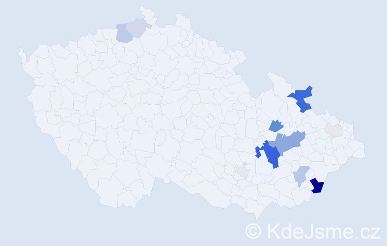 Příjmení: 'Čundrlová', počet výskytů 34 v celé ČR