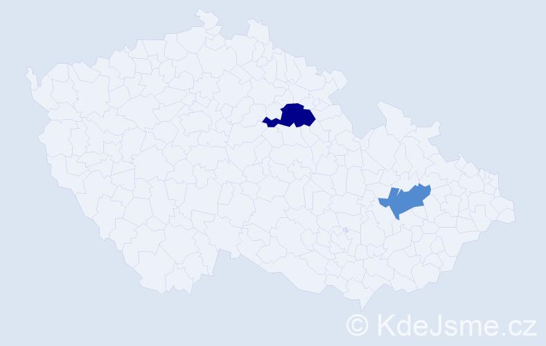 Příjmení: 'Jäckl', počet výskytů 3 v celé ČR